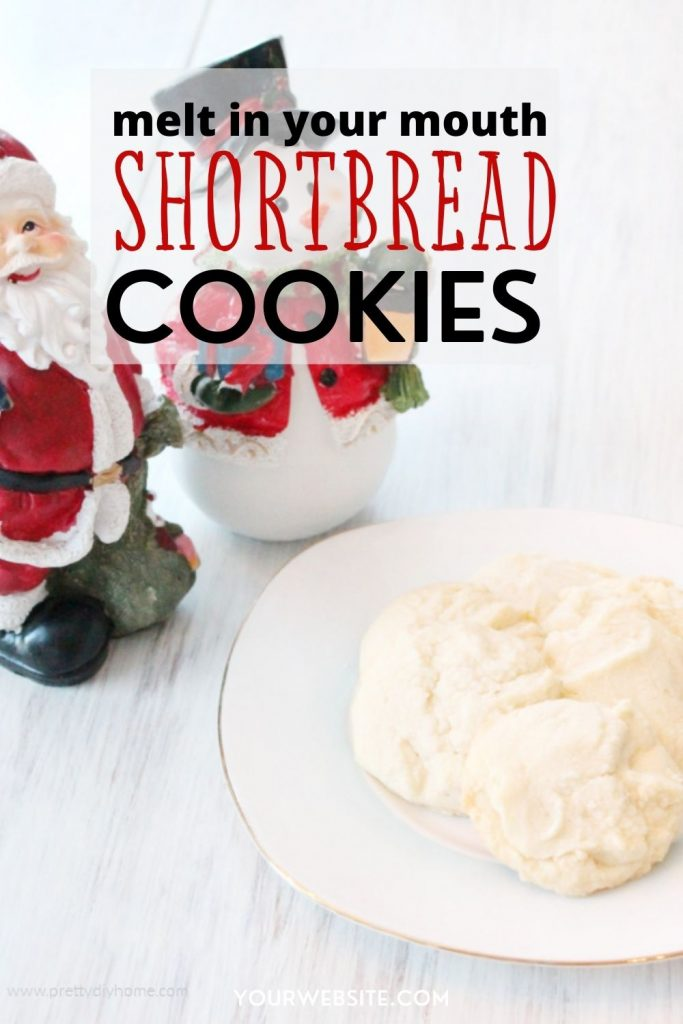 Homemade shortbread cookies on a plate for Christmas.