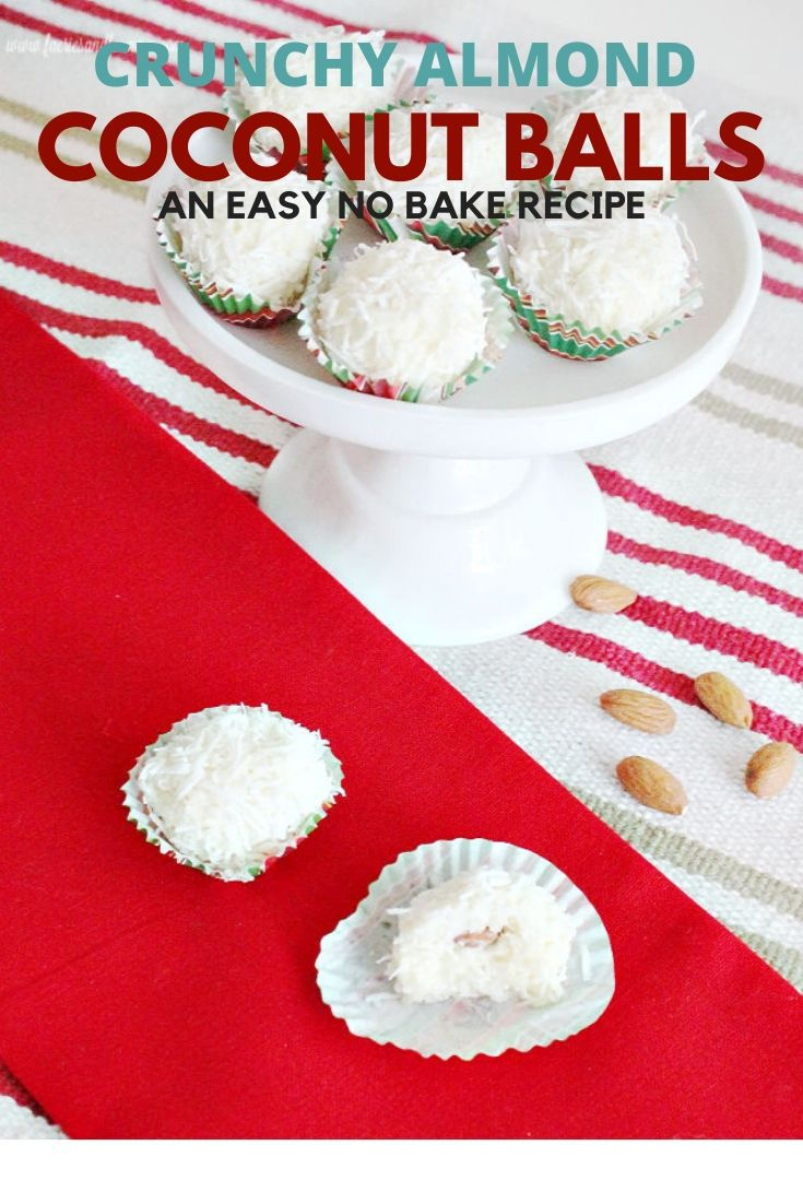 Coconut ball recipe with condensed milk and almond centers. An easy no bake candy recipe for Christmas.