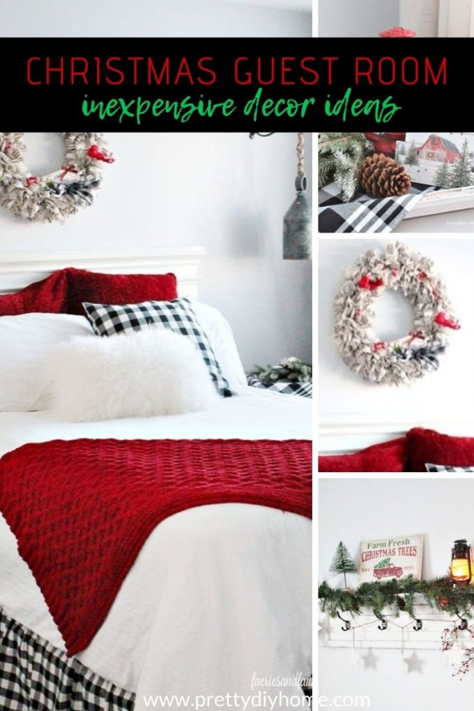 A farmhouse guest room decorated for Christmas