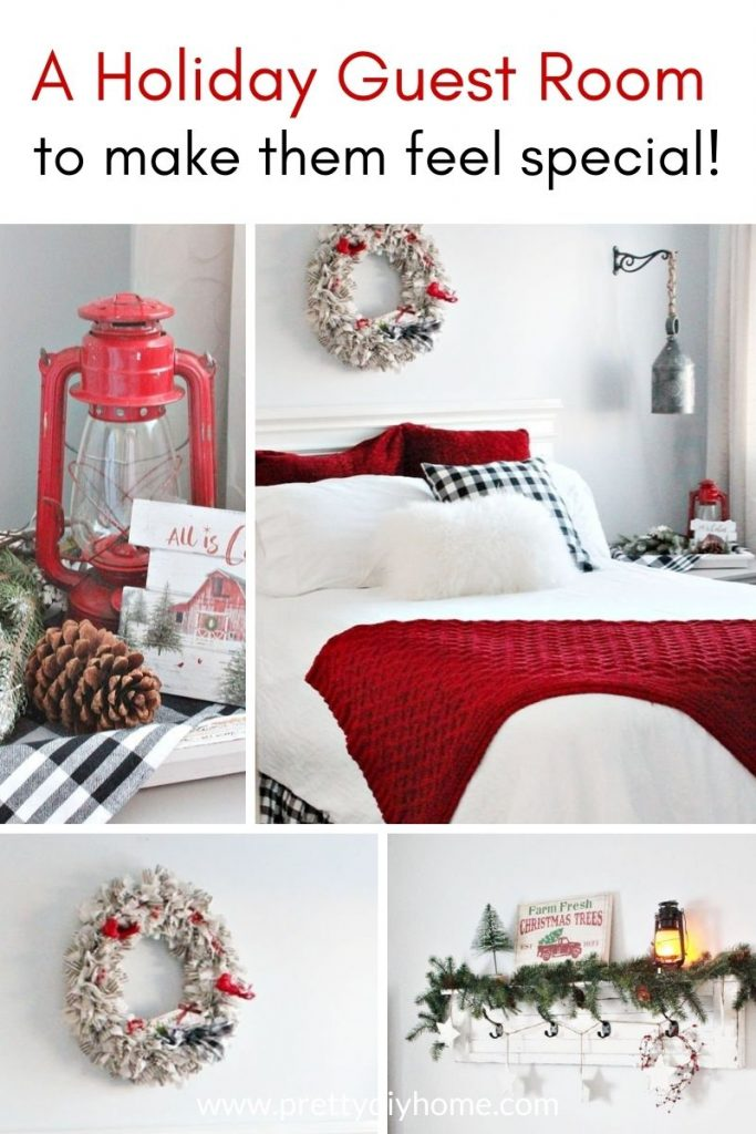 A holiday guest room decorated in a farmhouse style in white, red, and buffalo check.