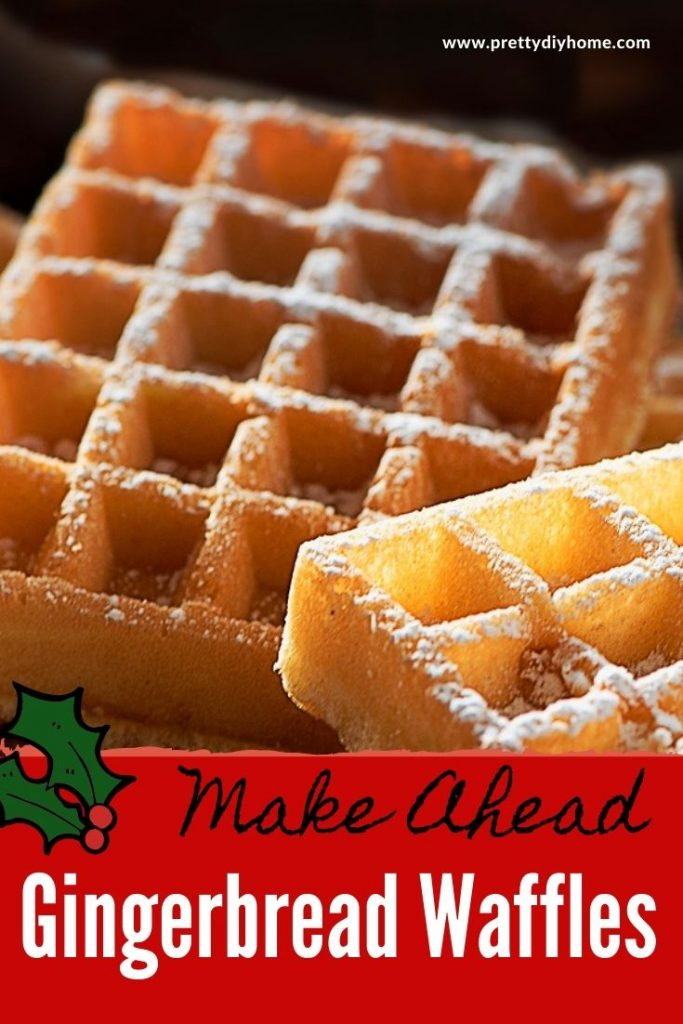 Sweet and spicy gingerbread waffles with syrup and a sprinkling of icing sugar.