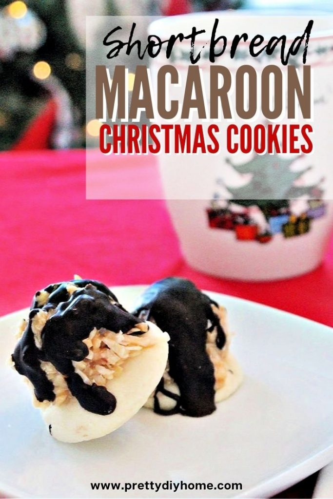 Shortbread based Christmas cookie recipe with aa caramel coconut macaroon filling and chocolate drizzle.