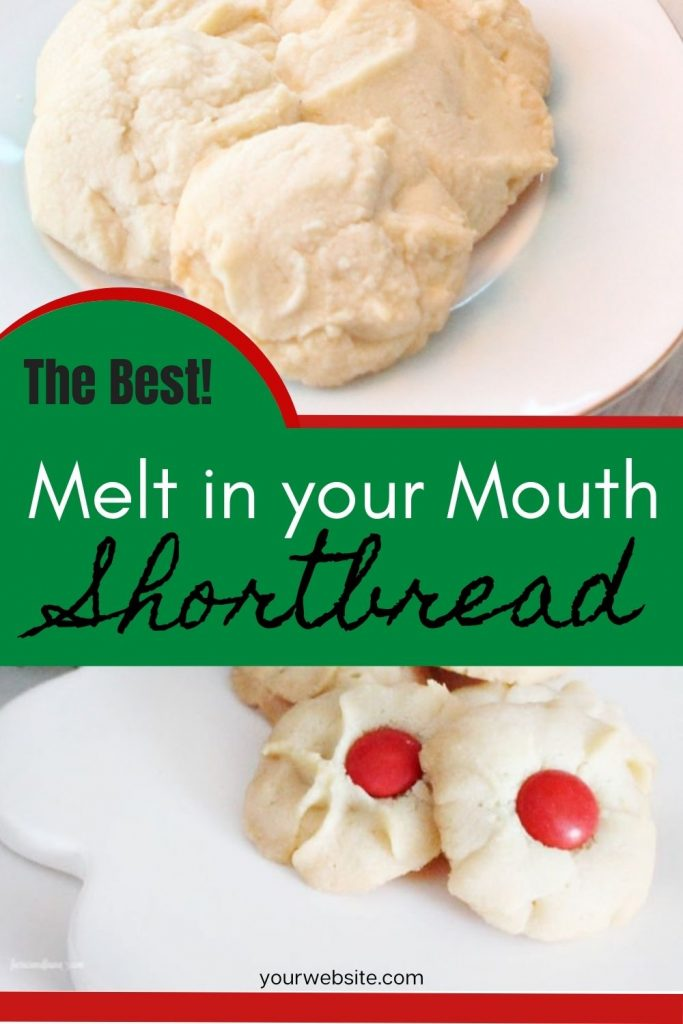 Melt in your mouth good homemade shortbread on a white plate for Christmas
