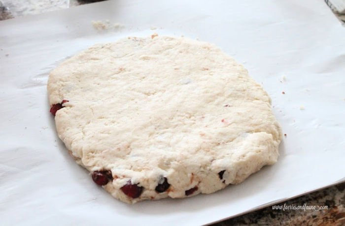 Layering dough in cranberry scones