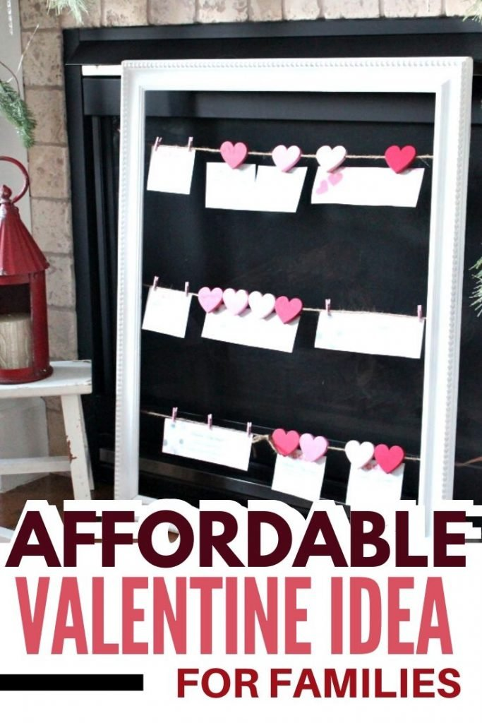 Free Valentine printable coupons hanging on a DIY jute string frame for Valentines day.
