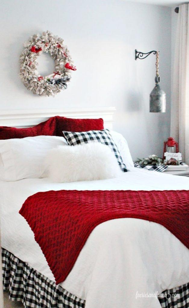 A farmhouse Christmas bedroom.