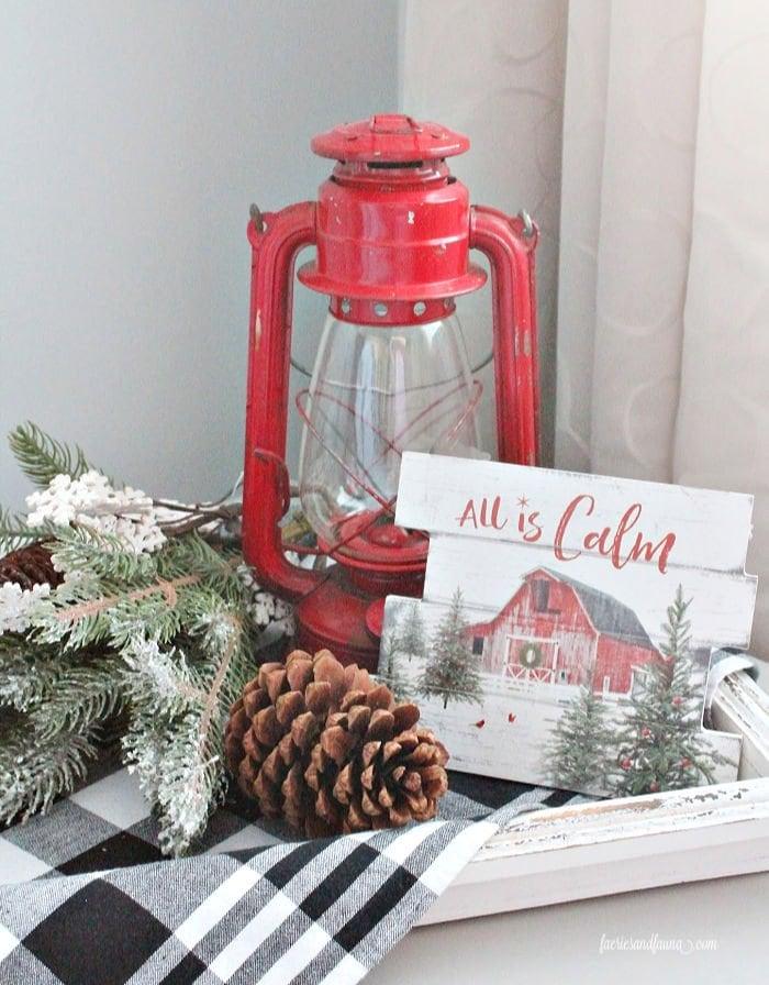 A farmhouse Christmas vignette in a Farmhouse Christmas Guest Room.