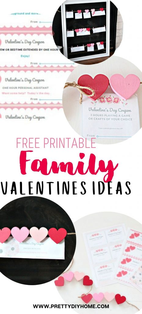 A collage of different valentine printable coupons for families in pink and white, then hanging on a jute string frame for sharing.