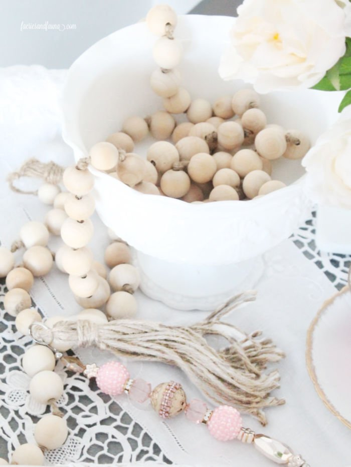Adding bling to farmhouse wood beads