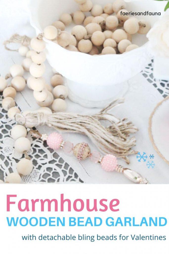 Pretty farmhouse Valentine Vignette with DIY Valentines Farmhouse Beads, and white milk glass bowl.