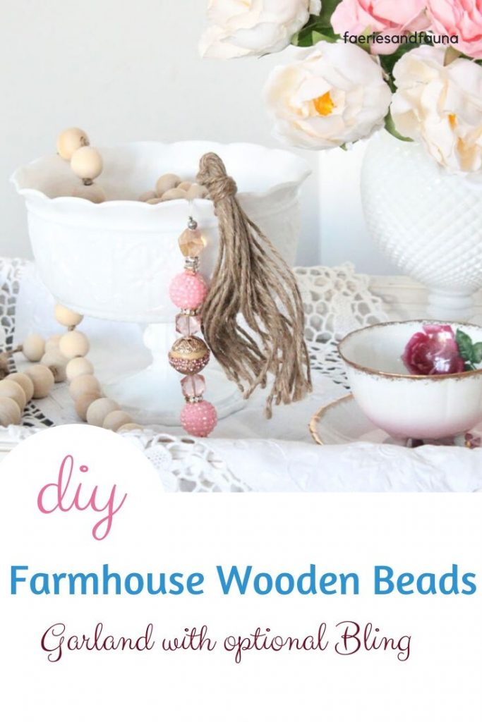 How To Make A Farmhouse Wood Bead Garland With Valentine Bling