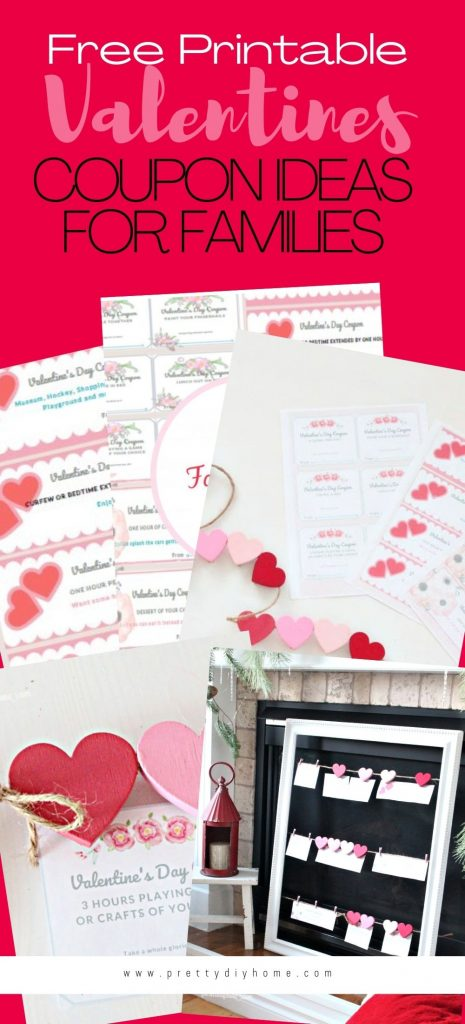 A collage of different Valentine coupons with valentine hearts and family activities on them.