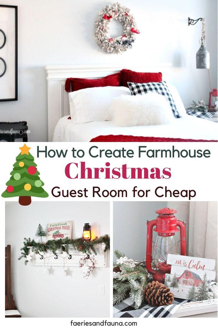 Creating a Farmhouse Christmas bedroom for cheap.