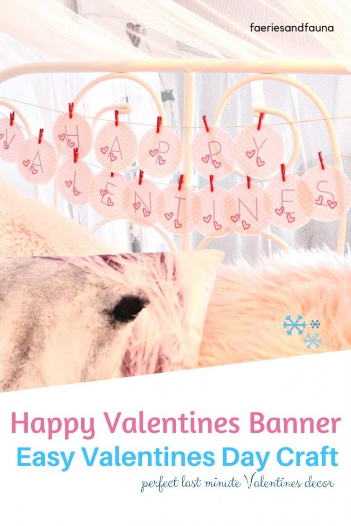 A farmhouse Valentines Day banner using a free printable Valentine, mini clothespins and twine.