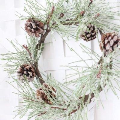Super Easy Farmhouse Minimalist Winter Wreath Makeover