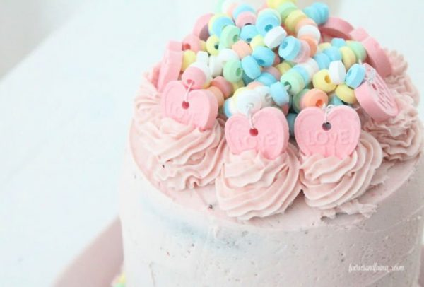The top of an easy to decorate chocolate strawberry valentine cake.