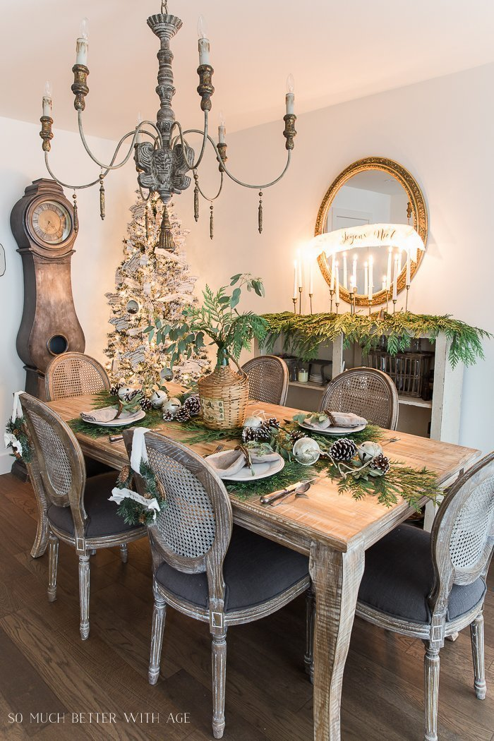 French Country Christmas Dining room decor.