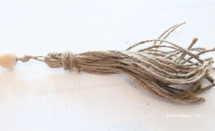 A hand made tassel for farmhouse beads.