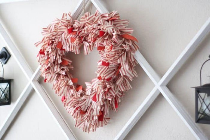 Ticking Fabric Heart Wreath