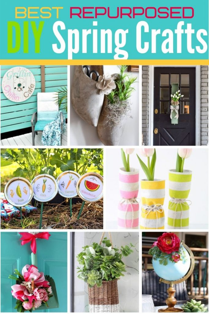 A collection of repurposed and upcyled thrifted items into beautiful DIY Spring decor.
