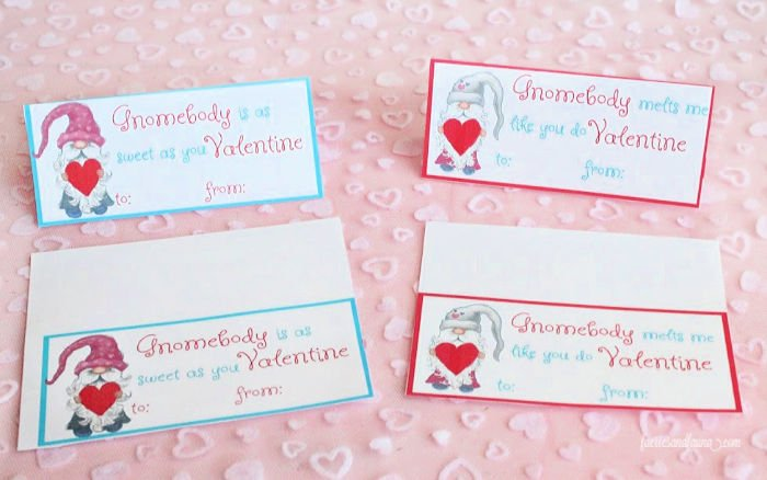 Cutting and Folding free printable Valentine treat bag toppers for kids.