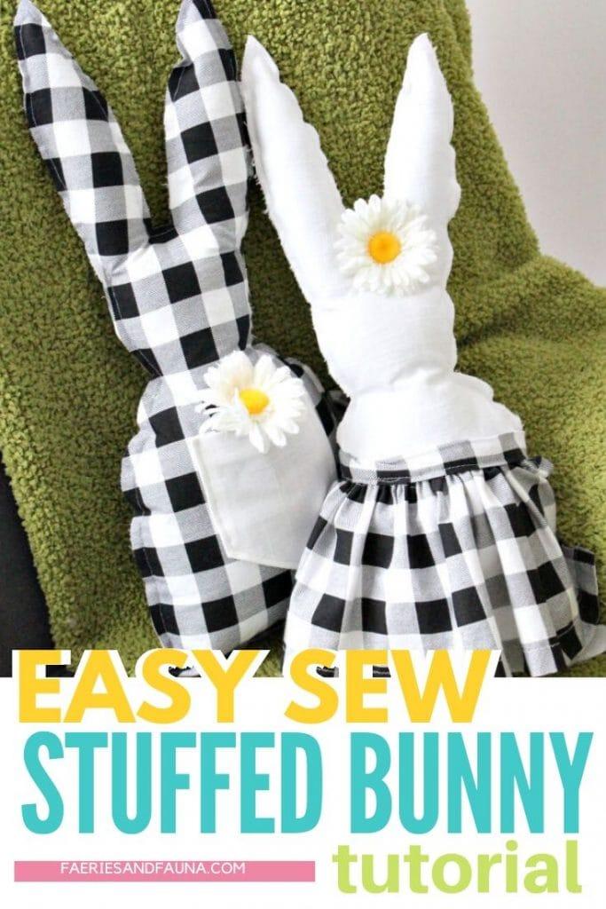 DIY stuffed fabric Easter bunnies in black and white farmhouse buffalo check.