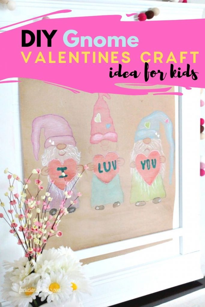 A trace a colour Gnome Valentines day craft for kids.
