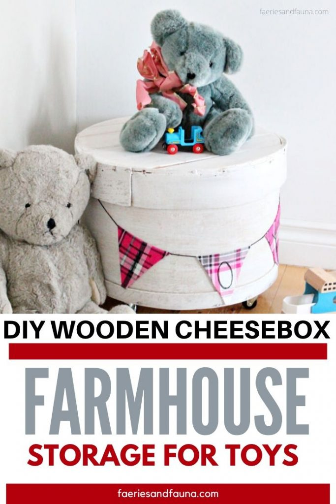 A vintage wooden cheese box gets an makeover to become pretty farmhouse storage as a toy box, or nightstand.