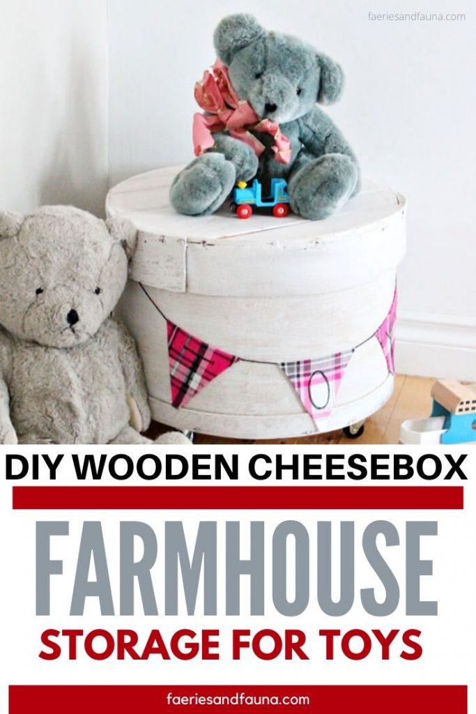 Vintage Wooden Cheese Box Repurpose Into Farmhouse Storage Bin