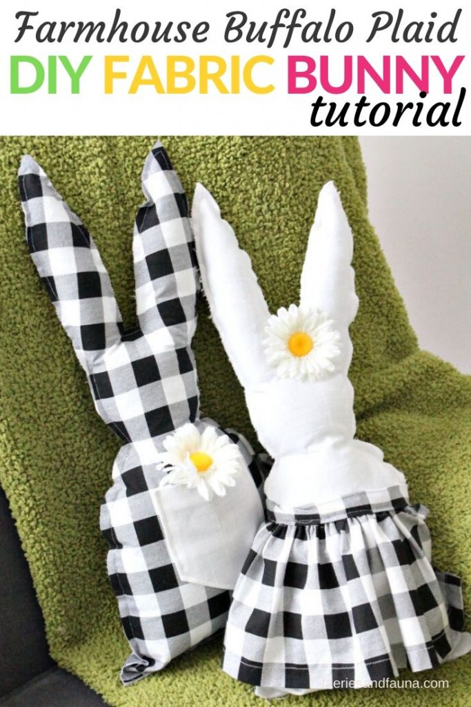 Fabric Easter bunny craft with buffalo plaid farmhouse fabric.