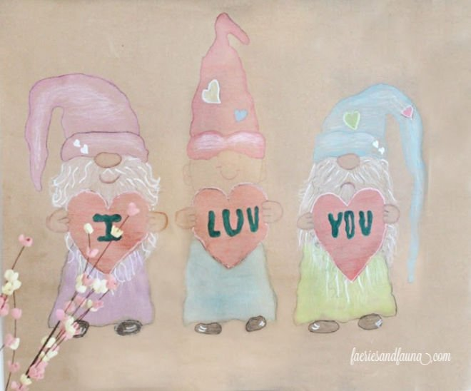 Coloured gnome valentine's day craft for kids
