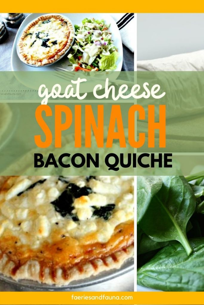 Goat cheese and spinach with bacon quiche recipe.
