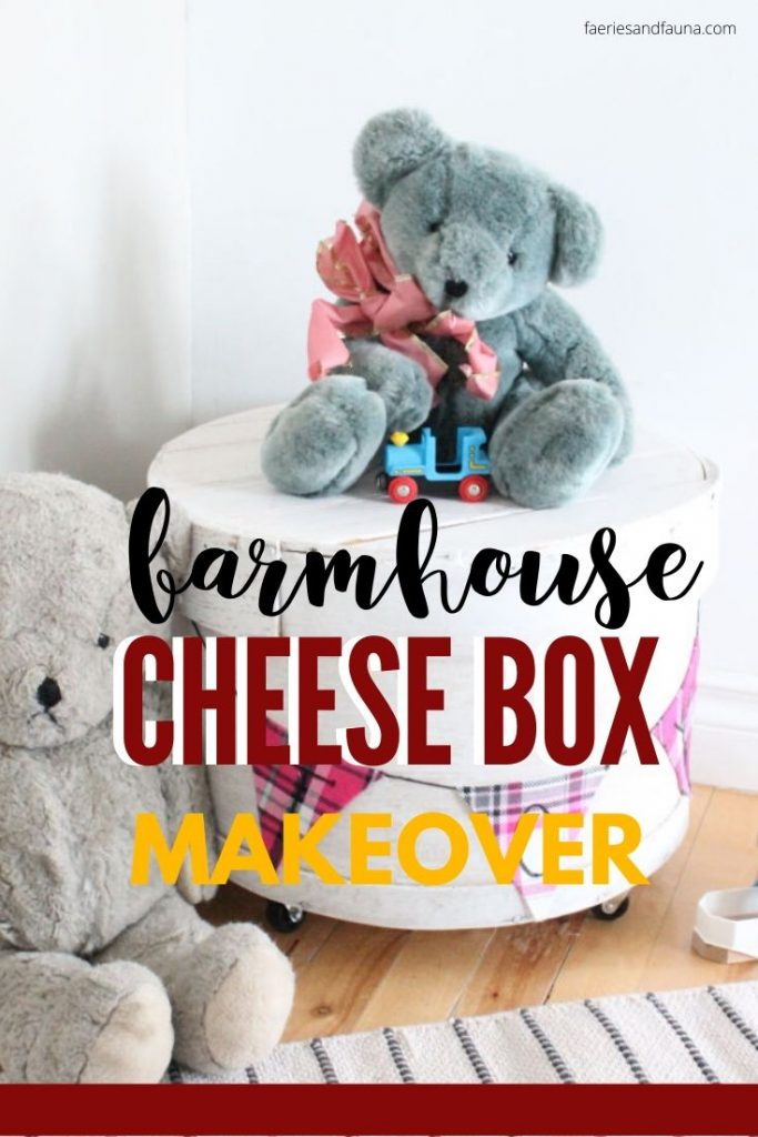 A old round cheese box gets a makeover and is repurposed as pretty farmhouse nightstand, or toy storage.