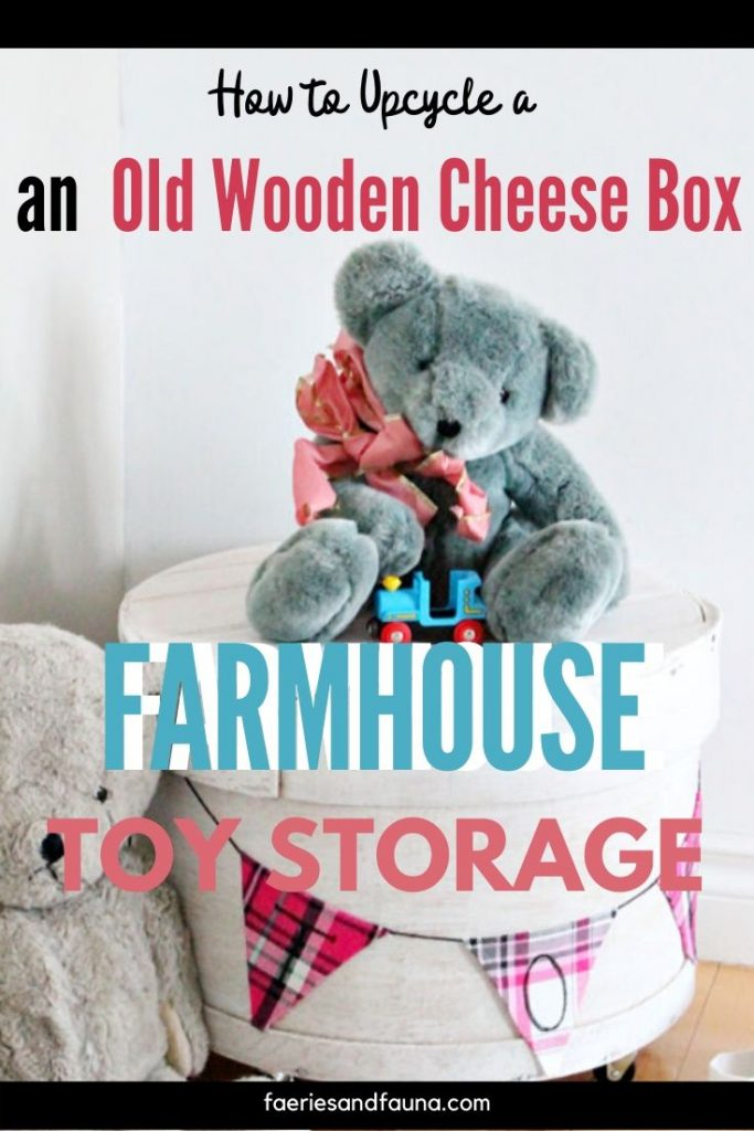 How to upcycle a vintage cheese box into pretty farmhouse storage. The farmhouse storage will look adorable as a farmhouse toybox, or cute night stand.