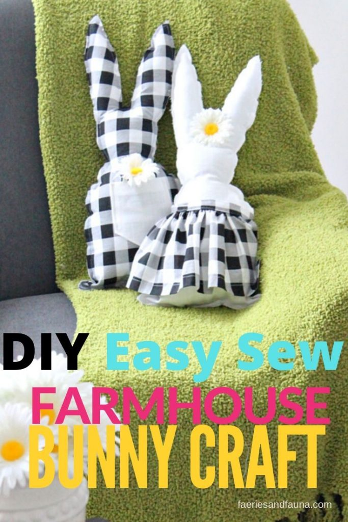 An easy sewing project with free pattern and buffalo check. DIY stuffed fabric Easter bunnies.