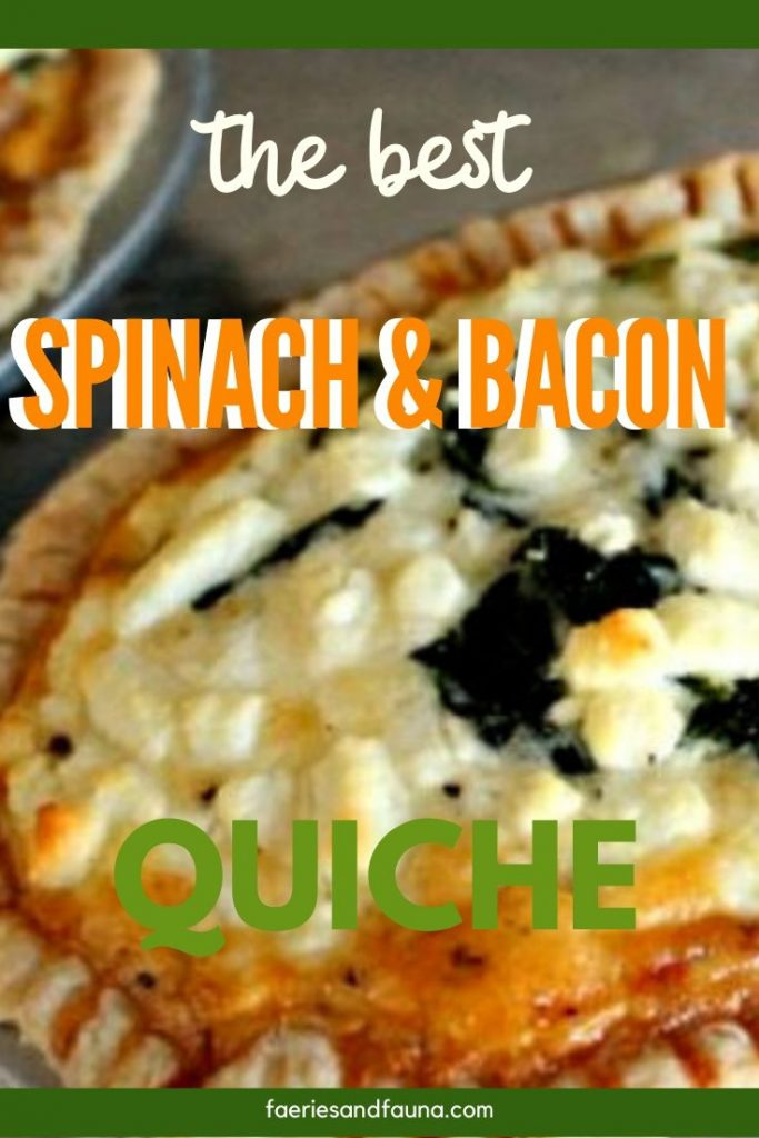Spinach, and bacon quiche recipe with goat cheese.