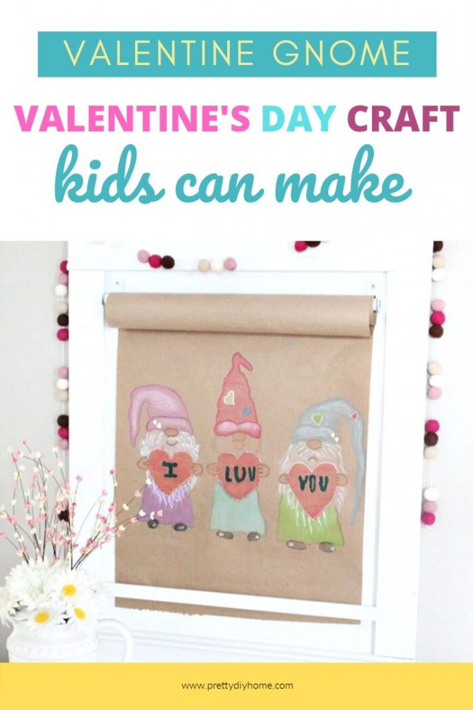 A large paper scroll craft for Valentines day with three coloured gnomes. A cute kids craft in all sorts of bright cheerful colours.