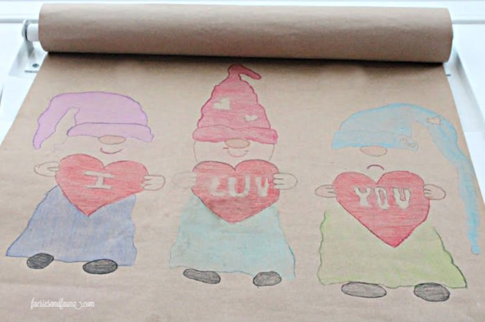 How to colour in a gnome valentine's day craft for kids to give or share.