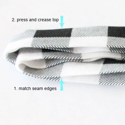How to make apron ties out of buffalo plaid, and attaching shorter pieces together for an apron accessory on a DIY bunny craft.