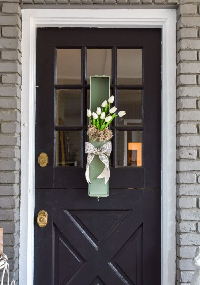 DIY Spring wreath idea that is unique with white tulips.