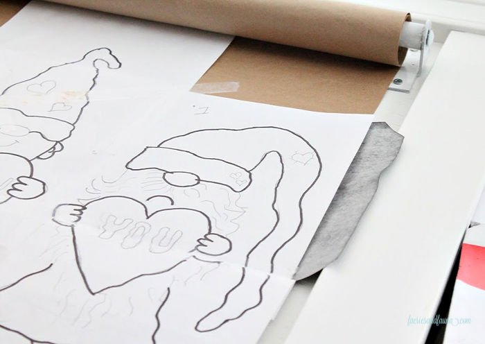 Using carbon paper to transfer gnome printables.