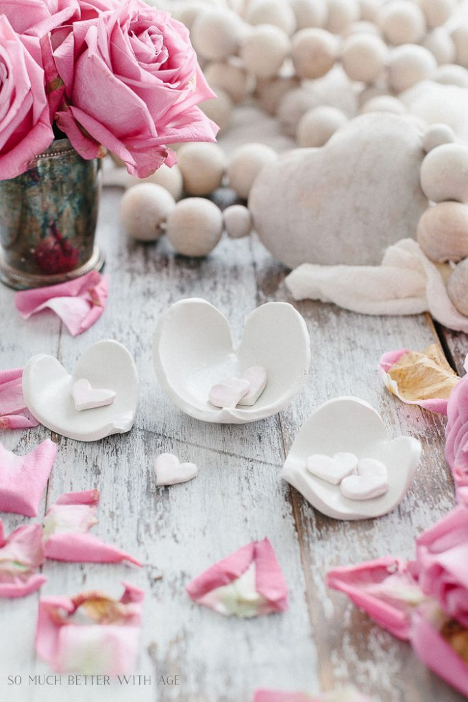 DIY Clay heart shaped dishes for Valentines.