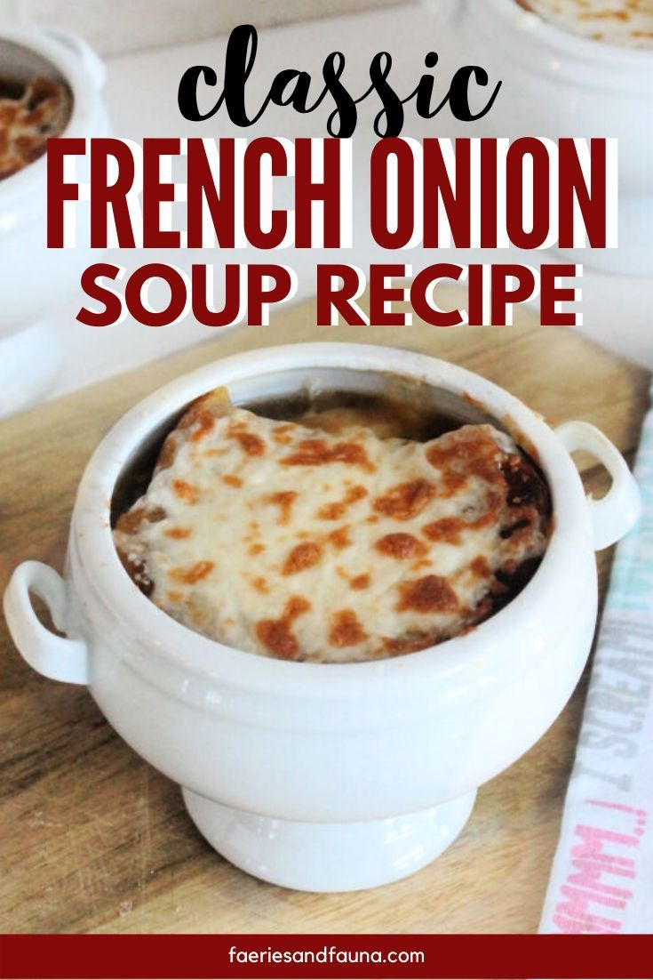 Homemade french onion soup recipe in a bowl with melted cheese.