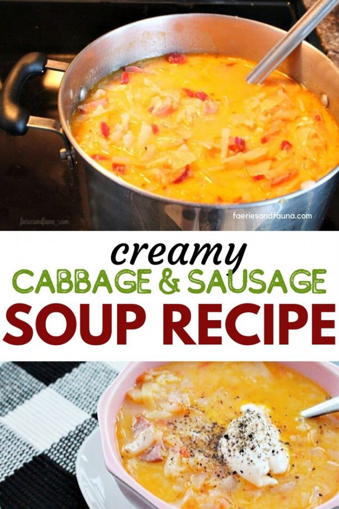 Creamy and hearty cabbage soup recipe with kielbasa sausage and vegetables.