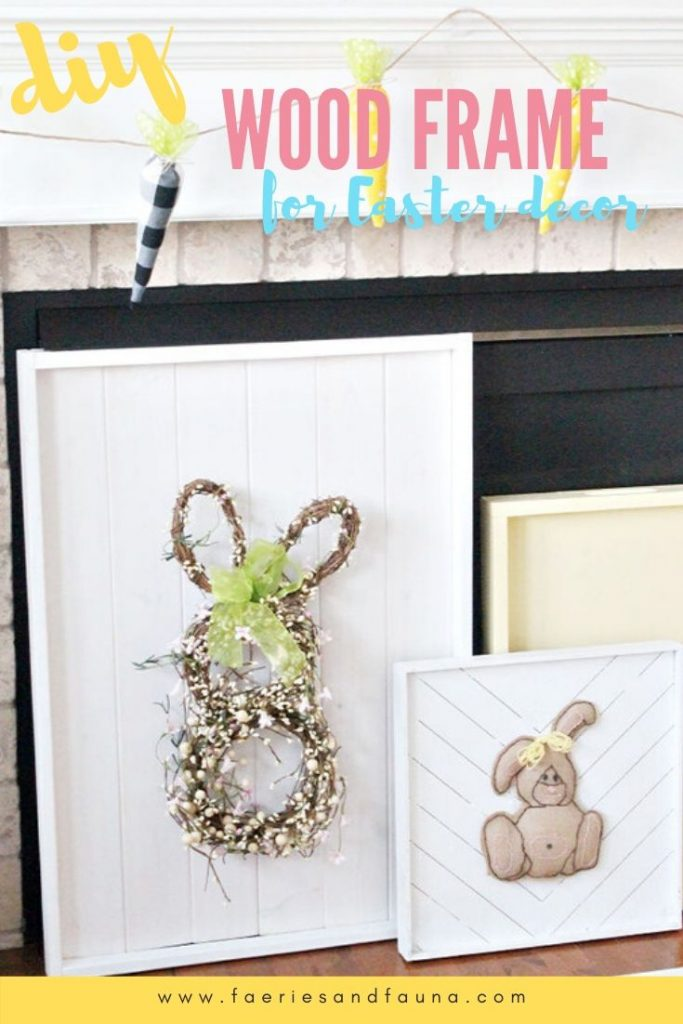 A large farmhouse wooden frame displaying an Easter bunny wreath for unique Easter decor idea.