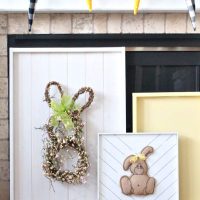DIY Farmhouse Wooden Frame Easter Bunny Wreath Tutorial