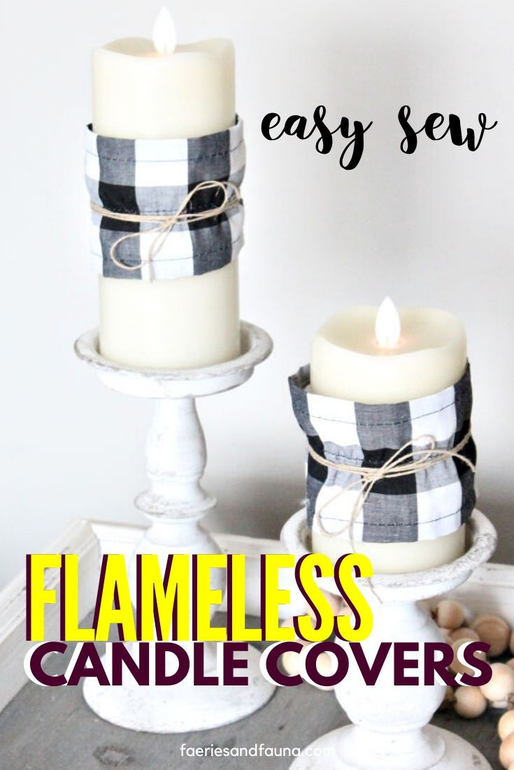 Easy Fabric craft for beginning sewing. Buffalo check flameless candle covers using scrap fabric and twine