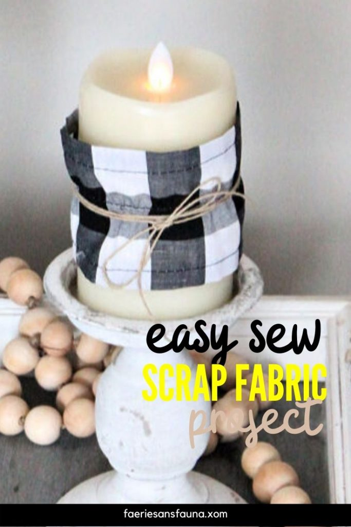 Fabric craft candle covers using scrap fabric.