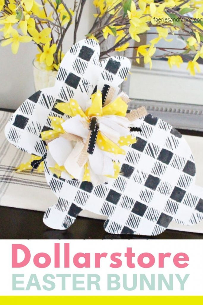 DIY Dollarstore Craft for Easter. How to Makeover a Dollarstore wood bunny to farmhouse buffalo plaid Easter decor.