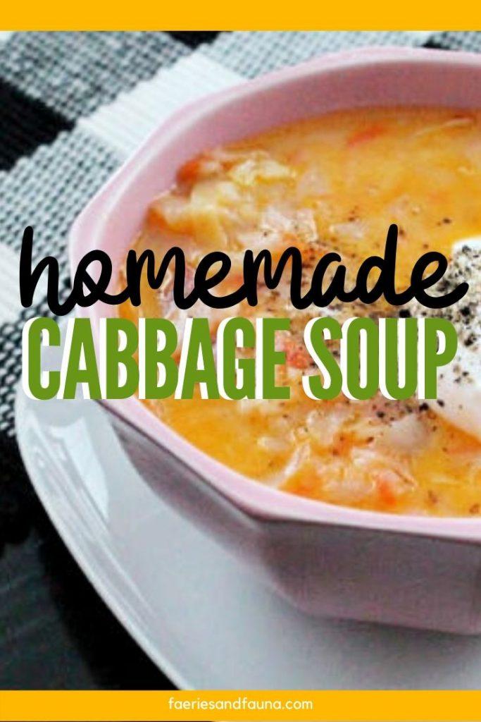 Homemade cabbage soup with Kielbasa sausage.